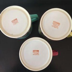 Vintage Kitchen - 3 Vintage Chinese Tea Mugs